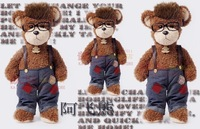 Plush toy bear Large 60cm cloth jeans doll birthday gift for girls with Glass Frame Fashion and Cute