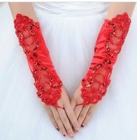 2012 Hot Red  Evening  Satin  bridal glove   ST-0010