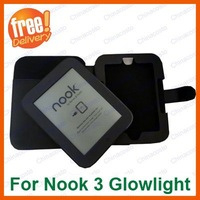 Retail 1pcs,Free Shipping Black PU Leather Case Cover For Nook 3 3G,Nook simple touch with Glowlight