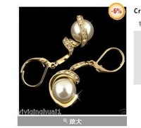 Crystal 12 mm shell pearl 18 k GP gold plated earring