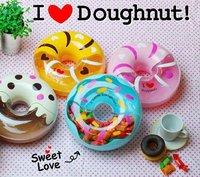 BPA FREE Cute Doughnuts Shape Candy Box Non Fragile Fruit Bin In Stcok Blue Pink Yellow Cream Coffee Color
