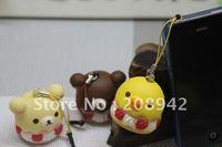 Best selling!! New Kawaii rilakkuma cupcake squishy charm mobile phone strap bag pendant sweet key chain Free shipping,5 pcs/lot