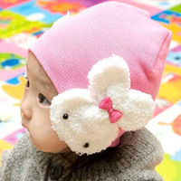 Free shipping Spring and autumn child baby yarn cotton child pocket hat big rabbit ear protector cap