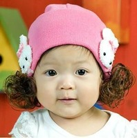 Free shipping Autumn and winter baby hat baby hat child baby yarn rabbit pocket hat wig cap a13