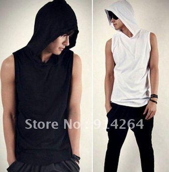 Mens Beach Slim Casual Sleeveless Hoody Hoodies Sweats Shirts Tee Tops M L    / free shipping