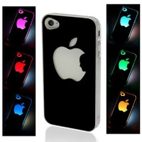 NEW Sense Flash light Case Cover for Apple iPhone 4 4S 4G LED LCD Color Changed