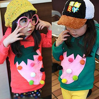 Children's clothing 2012 female child autumn and winter baby strawberry sphere pullover fleece sweatshirt cy5200