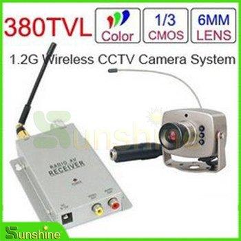 1.2 GHz Wireless Receiver & Wireless Color 6LED IR Nightvision Mini Camera Wireless ...