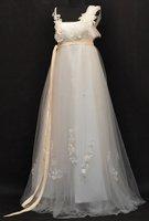A-line Spaghetti Straps Ivory White Champagne Maternity Lace Empire Waist Wedding Dress Pregnant Bridal Gown Sz6 8 10 12+Custom