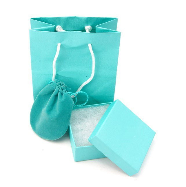 Wholesale Elegant Jewelry packaging,Timeless Blue Color,Contain 4 Items,Paper Bag,Box,Dust Bag and Card.Perfect Match With Jewel(China (Mainland))