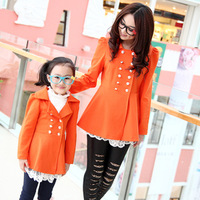 Family fashion autumn 2012 lace trench outerwear clothes for mother and daughter