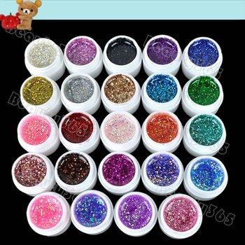 New 24pcs Mix Color Nail Gel Shimmering Powder Nail Art  Builder Glitter UV Gel 4910
