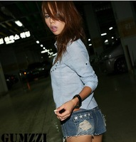 2013 Fashion Sexy Women Hole denim Jeans Shorts Lady flag star Denim jean Short Pants high quality freeshipping