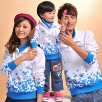 2012 family fashion autumn family set double layer collar tendrils long-sleeve set lovers sweatshirt