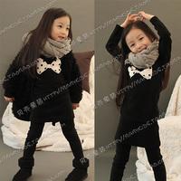 2012 autumn dot bow girls clothing baby fleece sweatshirt dress qz-0194