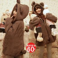 Women's sweet bear rabbit belt ears domesticated hen outerwear or sweatshirt