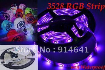 free shipping 3528 60led/m 5M RGB LED bar strip light non waterproof+24 Key IR Remote Control
