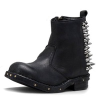 Jeffrey Campbell 'Buster' Leather Thick Heel Retro Motorcycle Boots