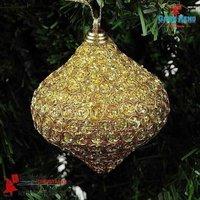 Global DHL  free shipping:40PCS+Fabric Christmas ball Christmas tree decoration ball 8.5cm luxury Golden 30g