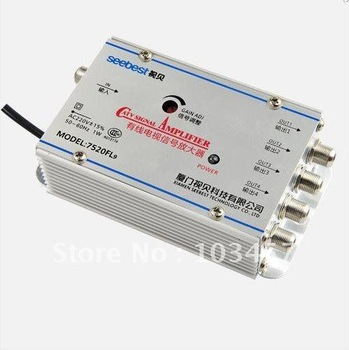 Free shipping, SB-7520FL9, 1in 4 out, 4 way catv signal amplifer, Sat Cable TV Signal Amplifier Splitter Booster CATV, 20DB
