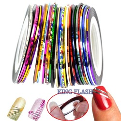 30 Mix Color Rolls Striping Tape Metallic Yarn Line Nail Art Decoration Sticker Free Shipping 4964(China (Mainland))