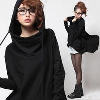 2012 fashion women's batwing shirt plus size with a hood cloak loose sweatshirt long-sleeve