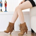 Free Shipping Sweet autumn and winter scrub female shoes high-heeled tassel boots ankle boots plus size