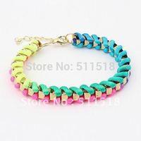 SZ20905 Europe fashion bracelet joker gradually color hand weave bangle free shipping