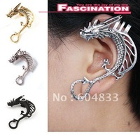 Punk rock, metal temptation ear cuffs wrap hanging pearl earrings M888