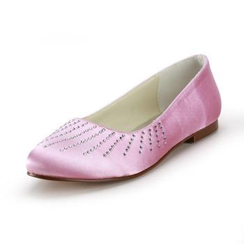 Elegant fashion rhinestones flat heel wedding party shoes pink ep2028-r