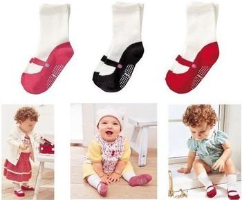 30pair Classic 100% cotton children socks all-match ballet socks slip-resistant rubber socks