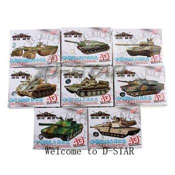Free Shipping 8pcs 1:72 Tank Model Assembly Toy (8pcs per Set)