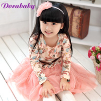 Free Shipping 2014 autumn children's clothing Girls' clothes long-sleeve dress Wholesale Retail Baby Dress