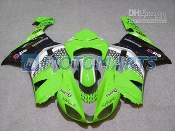 Hot sale black green ABS full fairing kit for Ninja ZX-6R 07-08 Ninja ZX 6R 07 08 ZX6R 2007 ZX6 R 2008 KE20