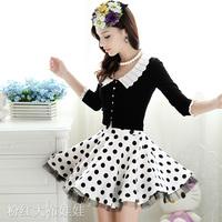 2015 autumn black white peter pan collar short design women's cardigan / 4 color plus size L sweaters