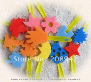 Best selling!! Aquadoodle children's art graffiti sponge painting brush Free shipping,12pcs/set