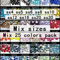 Crystal rhinestones assorted colors and sizes in one pack  Nail Art Rhinestones