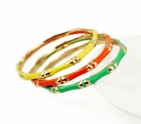 Gold Plated Enamel Bamboo Bangle Bracelet 3 Colors By Fornash,OY092201