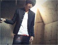 Freeshipping 2012 Autumn Korean Fashion Single Breasted Collar Mao Suit/Men's Small coat 410A Color:Black Size:M-L-XL-XXL