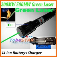 Green Laser Pointer 200MW 500MW Adjustable Star Burn Match +Li-ion Battery+Charger
