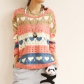 Free shipping 1pcs/lot  cutout love pattern cutout color block sweater shirt sweater / ladies Blouse