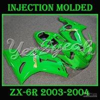 Injection molding Green ABS fairing for Kawasaki Ninja ZX-6R 03-04 ZX 6R 03 04 ZX6R 2003 2004 MKC01