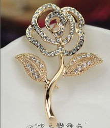 ITALINA brooch rose crystal brooch corsage pin female accessories mid-autumn festival gift birthday wedding christmas gift(China (Mainland))