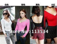 New Womens Women's V  Collar Shirts Cheap V neck Women's Shirt Tops Mixed Color Long Sleeves  SS-WD-06