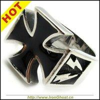 Fashion Men's Silver Stainless Steel Windrunner Black Cross Ring Free Shipping Lightning