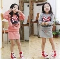 Free shipping 5 sets/lot girls  MICKEY sweatshirt long-sleeve+ short skirt 2pcs/set/children clothing set/suits