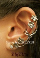 Wholesale Delicate Unique Flower Ear Cuff  Gold and Silver free shipping