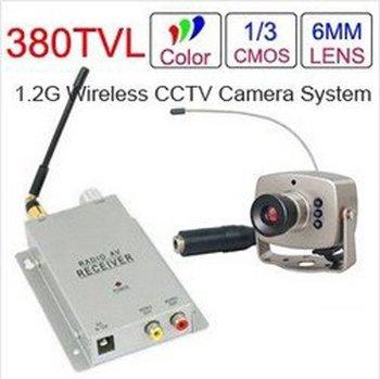 6LED IR Wireles Mini Camera + 1.2GHz Wireless Receiver Wireless CCTV Camera Kit Free Shipping