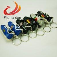 6pcs/set Flag Charm Mini Football Boots Sport Shoes  Keychain  Keys Ring Candy Color Wonderful Team Gift Souvenir  Free Shipping