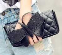 1PCS Free Shipping  2012 Female  Handbag  with Bow Plaid Day Clutch Chain Bag Women Shoulder Bag